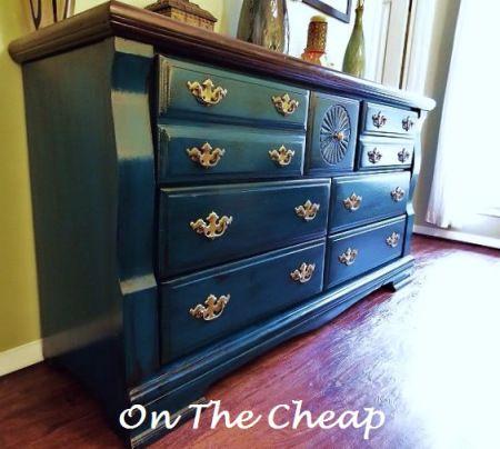 Peacock Blue Cherry Glaze Brass Pulls Dresser Painted
