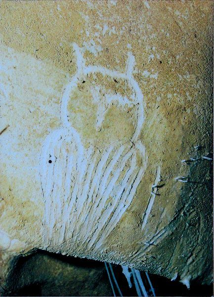 Chauvet, engraving of an owl.  The paintings there are the oldest known, carbon-dated to approximately 33,000 years ago, almost twice the age of the Lascaux cave paintings.­­­ The dates have been a matter of dispute but a study published in 2012 supports placing the art in the Aurignacian period, approximately 30,000-32,000 BP