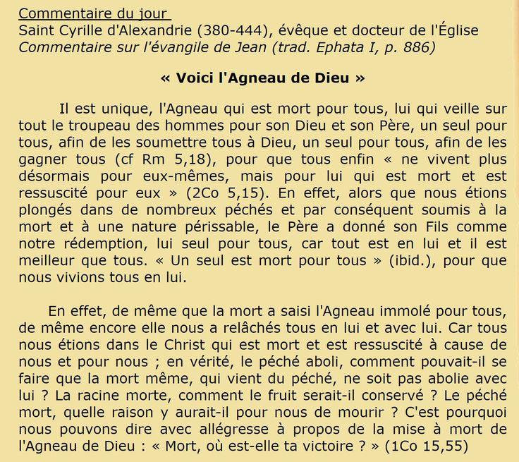 Férie du temps de Noël (3 janv.)  Commentaire du jour  Saint Cyrille d'Alexandrie (380-444), évêque et docteur de l'Église  Commentaire sur l'évangile de Jean (trad. Ephata I, p. 886) « Voici l'Agneau de Dieu »