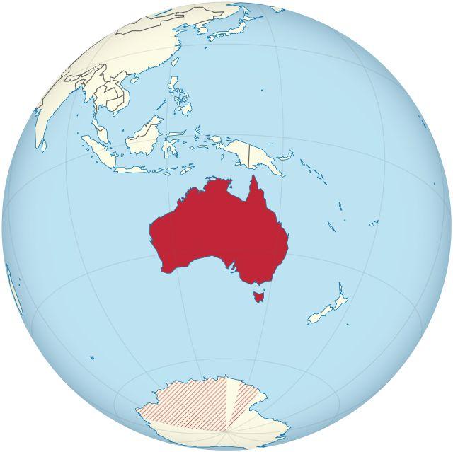 Localização da Austrália // Australia on the globe (Antarctic claims hatched) (Oceania centered) ◆Austrália – Wikipédia http://pt.wikipedia.org/wiki/Austr%C3%A1lia #Australia