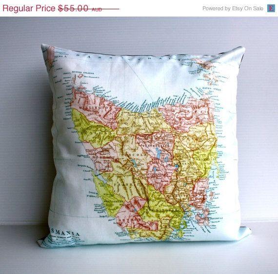 ON SALE Cushion cover pillow map cushion of by mybeardedpigeon, $50.00