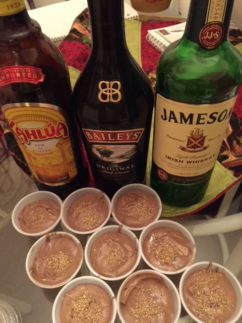 IRISH COFFEE PUDDING SHOTS! Classic Irish liquors, with Kahlua to give it the coffee flavor!