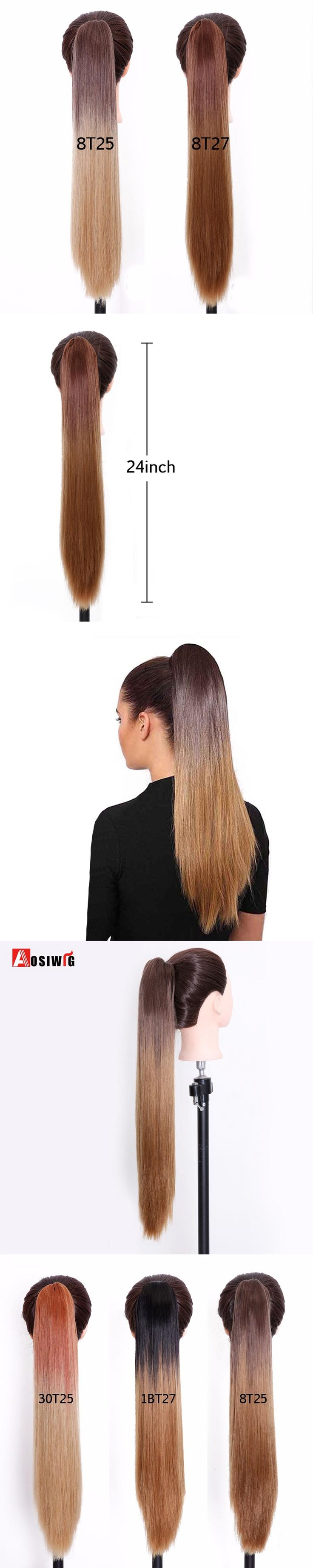 """AOSIWIG 24"""" Synthetic Long Straight Claw Ponytail Hair Extension High Temperature Fiber Hair Pieces Style Fake Ponytail"""