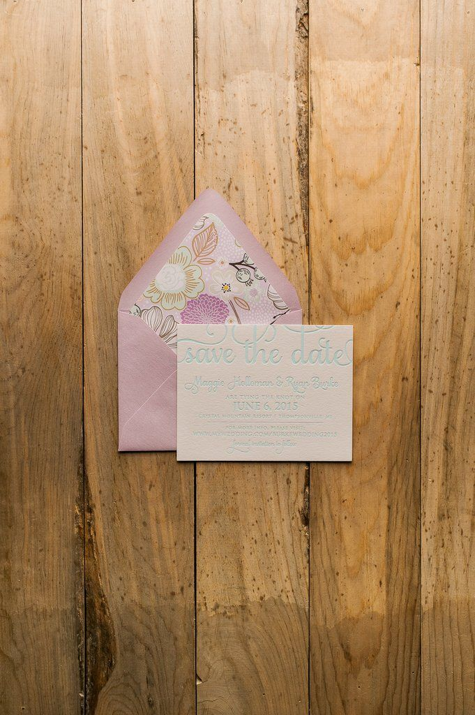 ADELE Save the Date, Lavender and Mint, Floral Envelope Liner, Spring Wedding ideas