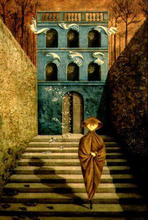 Ruptura, 1955. Óleo sobre masonite. 95x60 cm. Colección particular. Surrealismo.Remedios Varo. (Oil on masonite panel).