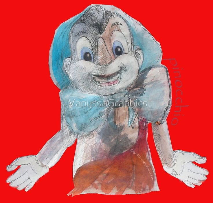 """""""Pinocchio2"""" Original Watercolors Hand Drawing by Alice Iordache by VanyssaGraphics"""