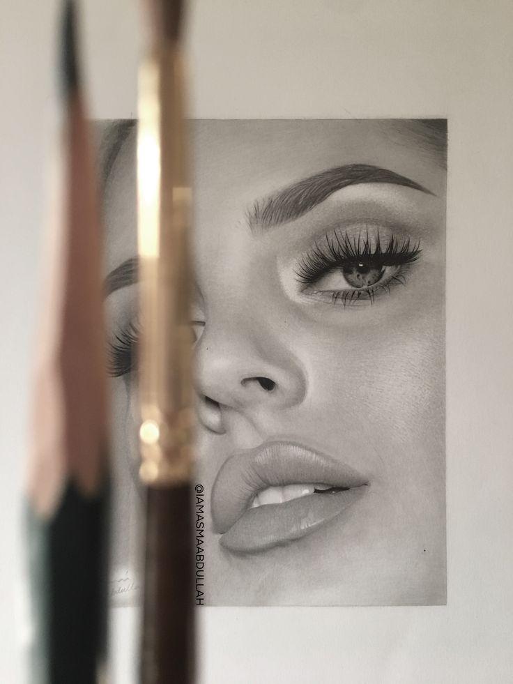 Throwback to the final touches on this portrait of chloe morello. By Asma'a Abdullah.  IG/Twitter: @iamasmaabdullah . . #art #drawing #charcoaldrawing #charcoal #artist #shotoniphone #pencil #portrait #chloemorello #mua #pencilart