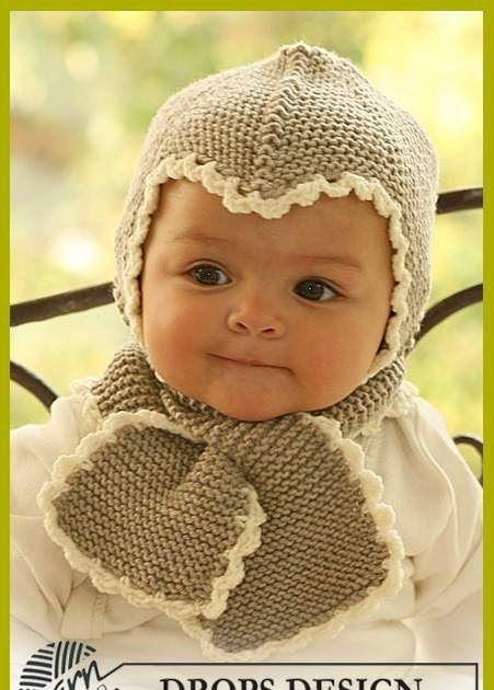 Озорные петельки: Шапочка и шарфик от DROPS для малыша