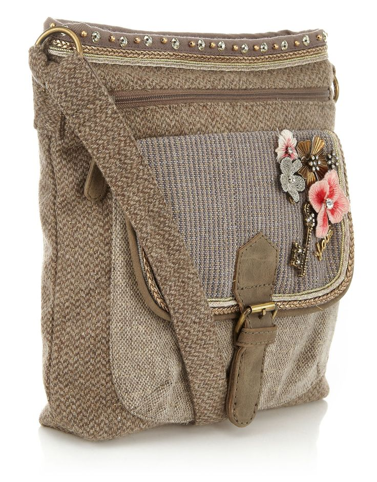 Tweed Charm Crossbody Bag | Taupe | Accessorize