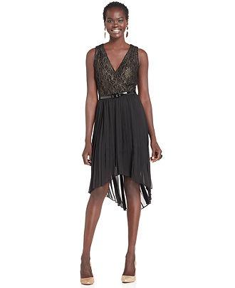 SL Fashions Petite Dress, Sleeveless Lace High-Low V-Neck - Womens Petite Dresses - Macy's