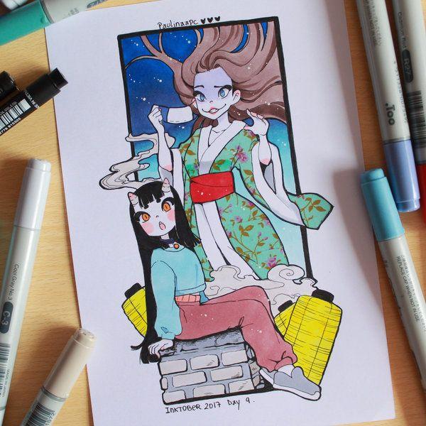 Inktober 2017 day 9 - kuchisake-Onna and Eunbooh by Paulinaapc.deviantart.com on @DeviantArt