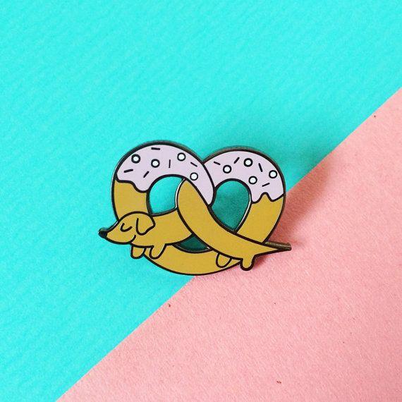 Pretzel dog pin by SamanthaEynon on Etsy