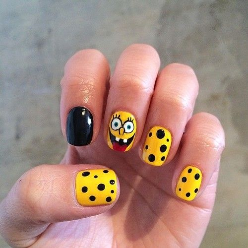 Nails inspired by SpongeBob x Moschino x Jeremy Scott.