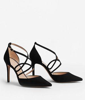 Pantofi Stiletto Mango Cu Barete Subtiri Negri | Cea mai buna oferta