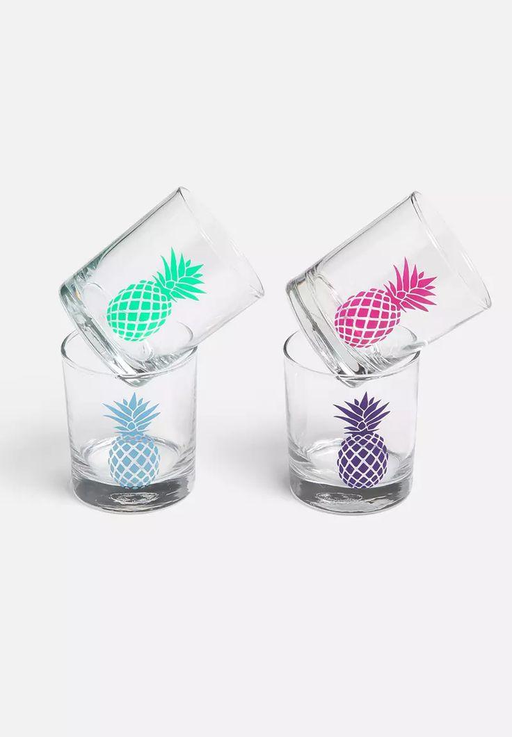 Set of 4 Pineapple Glasses