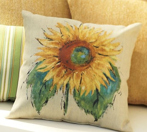 Painted Sunflower Outdoor Pillow | Pottery Barn. So pretty but too expensive! Maybe I'll paint my own.