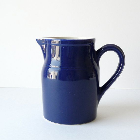Beautiful french vintage Digoin ceramic pitcher - Indigo Blue - Wine/water Pitcher - Shabby chic - Country home decor