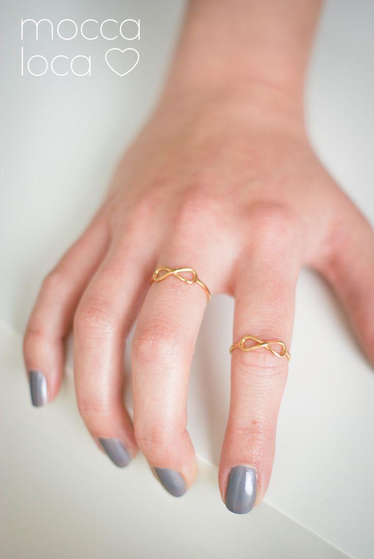 Pozłacane srebro - pierścionek nieskończoność