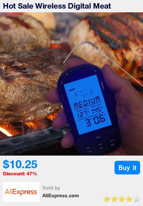 Hot Sale Wireless Digital Meat Thermometer Remote BBQ Kitchen Cooking for Oven Grill Smoker with Timer * Pub Date: 16:28 Jul 2 2017