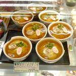 お菓子の蔵 太郎庵 - 料理写真:喜多方ラーメンケーキ。モンブランクリームで麺を、紅茶ゼリーでスープを表現