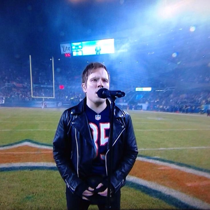 Patrick Stump singing the National Anthem ❤ the only reason I would ever watch football
