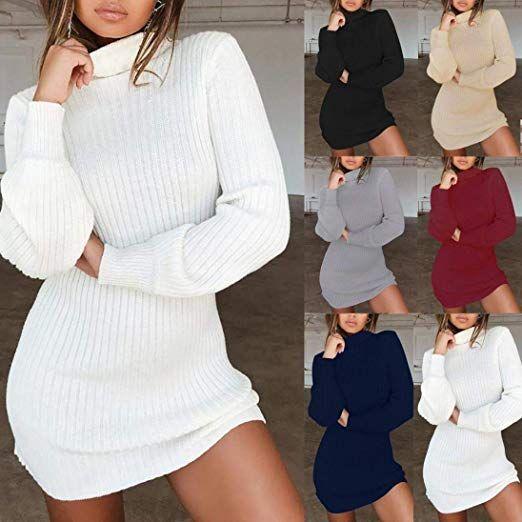 official photos e63d8 8db8a SHOBDW Damen Casual Langarm Pullover Rollkragen Pullover ...