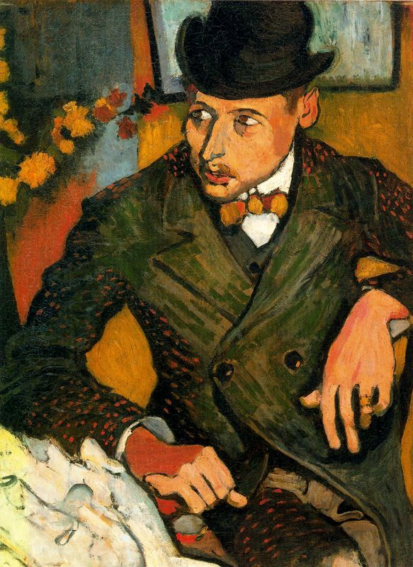 andré derain(1880-1954), portrait of lucien gilbert, c. 1905. oil on canvas, 81.3 x 60.3 cm. the metropolitan museum of art, new york, usa http://www.metmuseum.org/Collections/search-the-collections/210001626?rpp=60=1=derain=6; http://www.wikipaintings.org/en/andre-derain/portrait-of-lucien-gilbert-1906#supersized-artistPaintings-256159