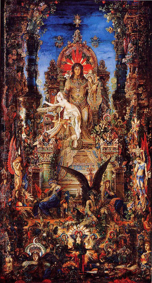 Jupiter and Semele - Gustave Moreau --- (Semele, encouraged by Hera - Zeus's wife - persuades Zeus to reveal himself in all his splendour. When he appears before her as the radiant god of thunder and lightning, Semele is consumed by flames.)