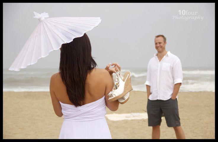 Beach Wedding #10fourPhotography www.facebook.com/10fourphotography #BeachWedding #WeddingPhotography #Wedding #CasualWedding #Shoes #ocean #beach #love #White