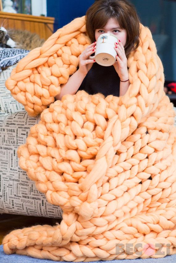 Chunky Knit Blanket Arm Knit Throw Wool BlanketQueen by Becozi