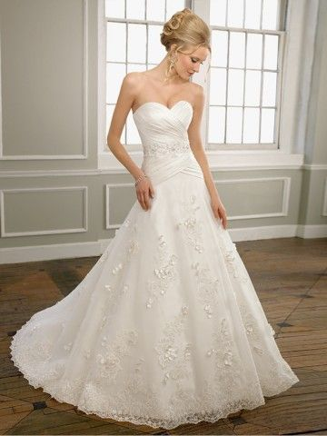 2012 Style Sheath / Column Sweetheart  Ruffles  Sleeveless Sweep / Brush Train Lace  White Wedding Dress For Brides