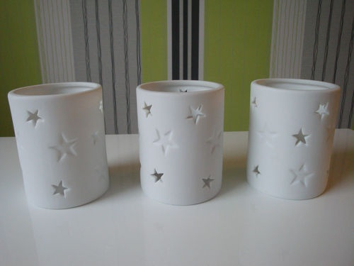 Set of 3 White Ceramic Star Cut Out Colony Candle Holders | eBay