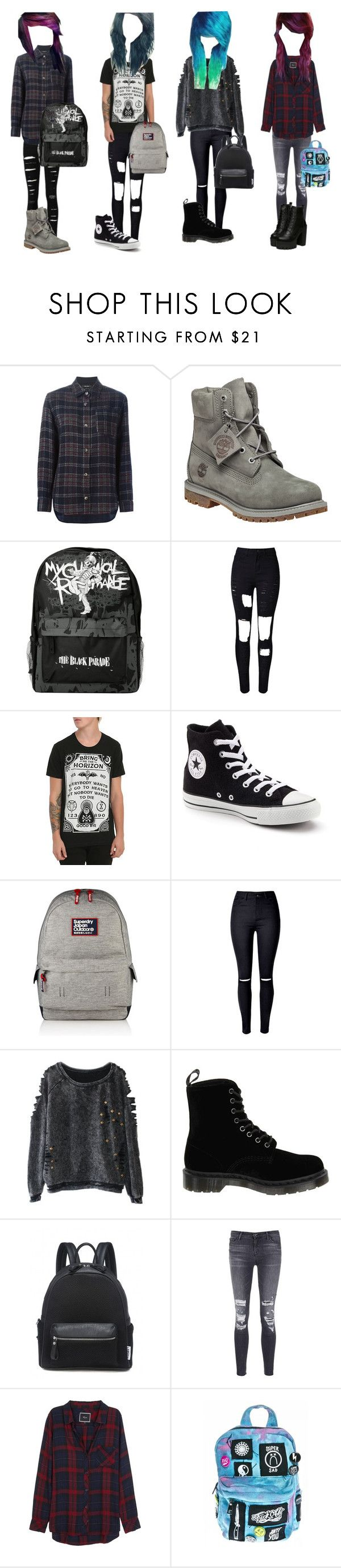 """Emo/scene girl outfits"" by miab1245 ❤ liked on Polyvore featuring Isabel Marant, Timberland, WithChic, Converse, Superdry, Dr. Martens, J Brand, Rails and Current Mood"