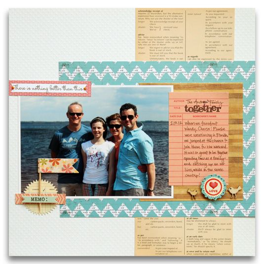 Scrapbook page with chevron print by Meghann Andrew