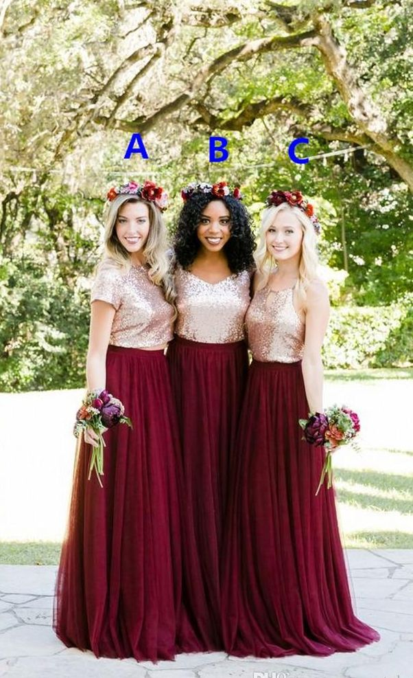 Two Tone Rose Gold Burgundy Country Bridesmaid Dresses Custom Make Long Junior Maid of Honor Wedding Party Guest Dress Cheap Plus Size