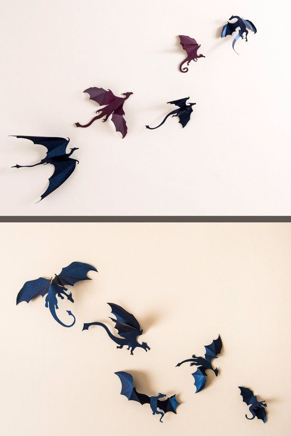 Game of Thrones inspired 3D Dragon Wall Art: dragon silhouettes, fantasy decor, boys rooms, dark blue & purple mix