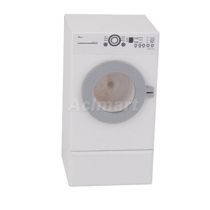 Dolls House Miniature 1:12 Traditional Dryer Machine With Drawer White Wood