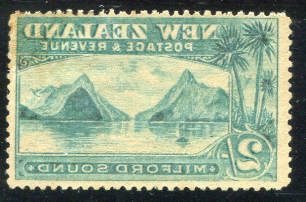 Stamps - Errors #326994 NZ Error 1898 Pict 2/- Milford London Print mint with 100% offset on back...