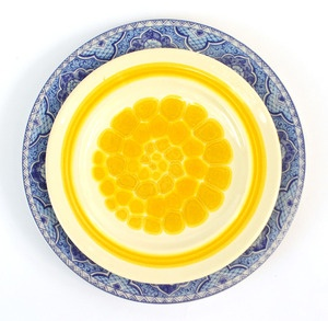 Blue & Yellow Plates, Set of 4 Dinner and Salad Plates