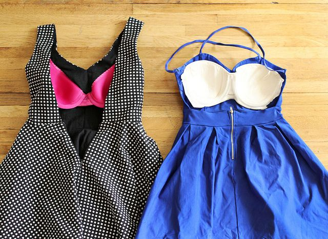 What to do with a backless dress?  SEW THE CUPS OF A DISCOUNT BRA IN IT.