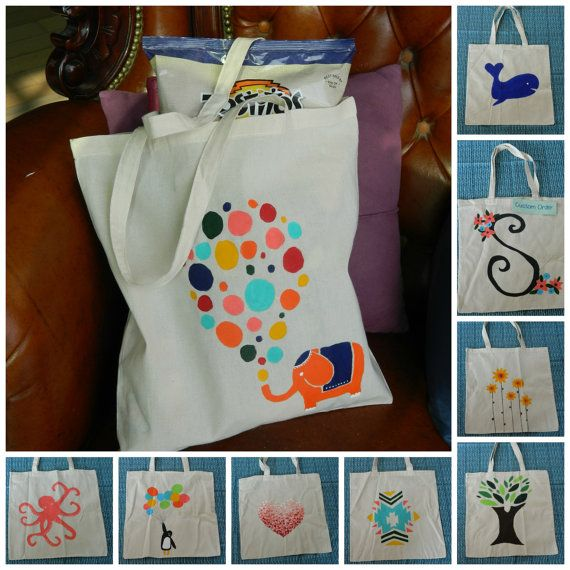 Hand Painted Canvas Tote Bags, $8.00