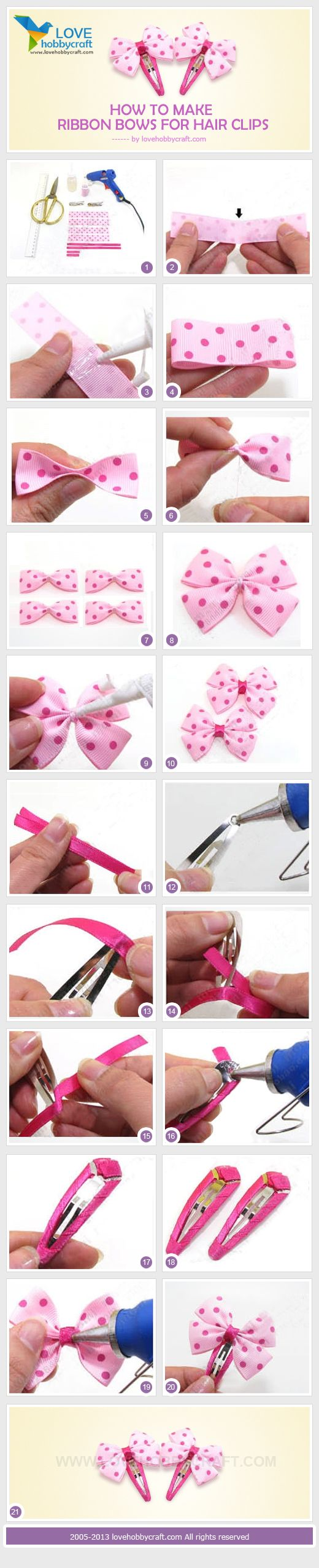How to make ribbon bows for hair clips...sweet! =) I've been looking for a tutorial for these =)