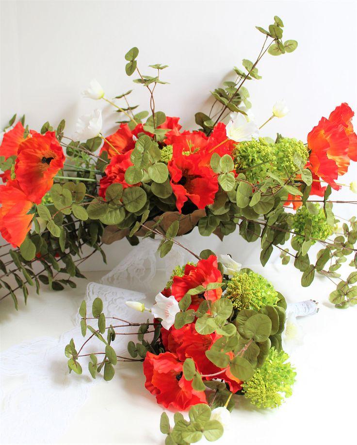 Orange Wedding Bouquet Set, Large Greenery Bouquet, Bride Bridesmaid Flowers, Summer Wedding Flowers, Bouquet Set, Boho Wedding Arrangements by YourWeddingBlossoms on Etsy