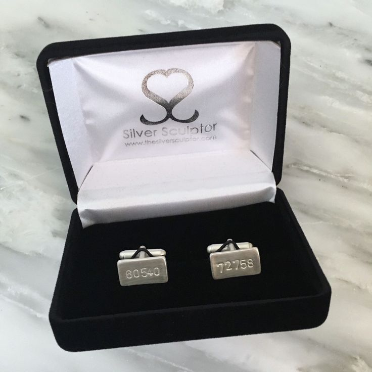 The zip codes on these cufflinks are for Naperville, Il and Rogers, AR. Which zip code or post code would you choose?