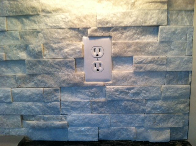 Partially recessed outlet- Sturkie Ledgestone Backsplash