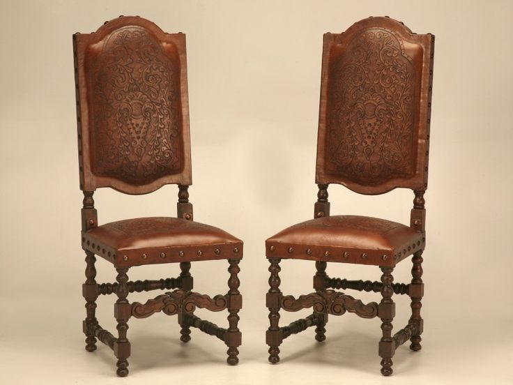 Pair Of Spanish Renaissance Tooled Leather Dining Room Side Chairs For Sale