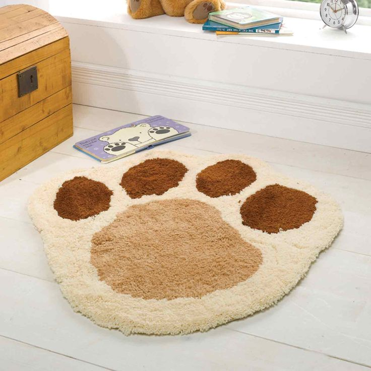 Flair Rugs Nursery Puppy Paw Shaped Childrens Rug Natural 70 X 80 Cm