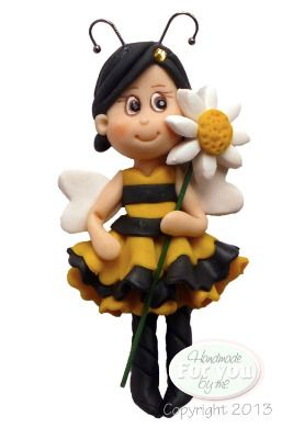 Little Bee fairy porcelana fria polymer clay masa flexible pasta francesa fimo fondant figurine modelado modelling