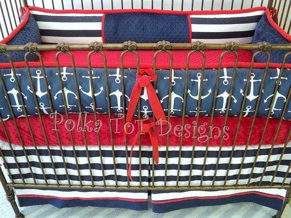 Hey, I found this really awesome Etsy listing at https://www.etsy.com/listing/233586728/ahoy-nautical-crib-bedding