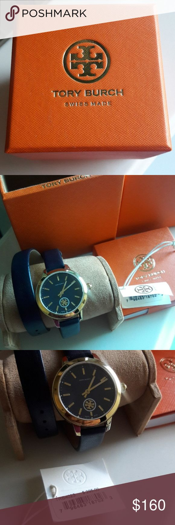 Tory Burch watch 💯authentic !!! Collins Navy Blue Dial Double Wrap Ladies Watch new never use with tag,comes with box . Tory Burch Accessories Watches